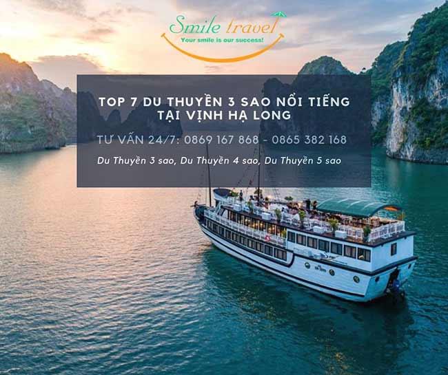 Top 7 Du Thuyền 3 sao nổi tiếng tại Vịnh Hạ Long